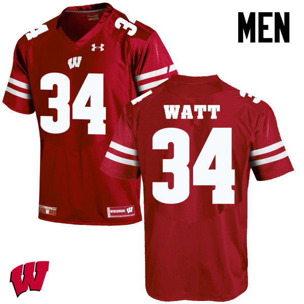 Men Winsconsin Badgers #34 Derek Watt College Football Jerseys-Red